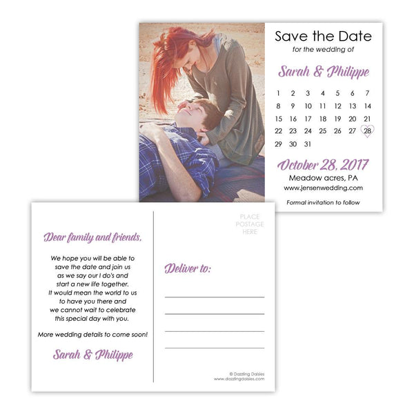 Save the date postcards 'Modern Romance' - Plum - Dazzling Daisies