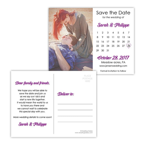 Save the date postcards 'Modern Romance' - Purple - Dazzling Daisies
