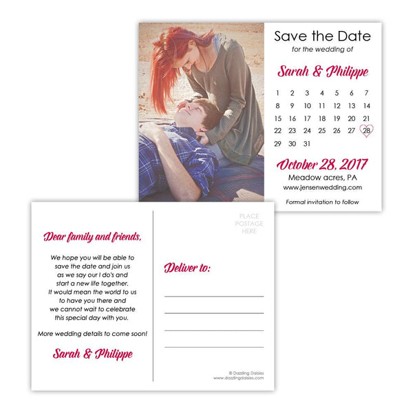 Save the date postcards 'Modern Romance' - Raspberry - Dazzling Daisies