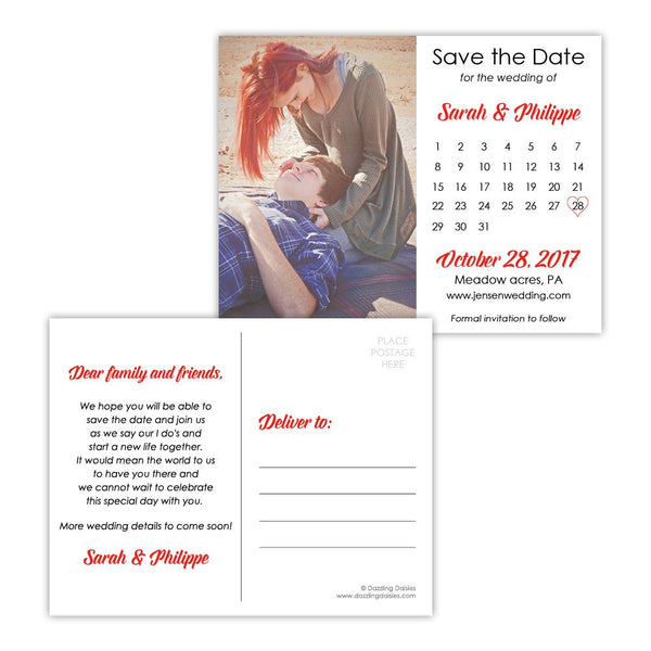 Save the date postcards 'Modern Romance' - Red - Dazzling Daisies