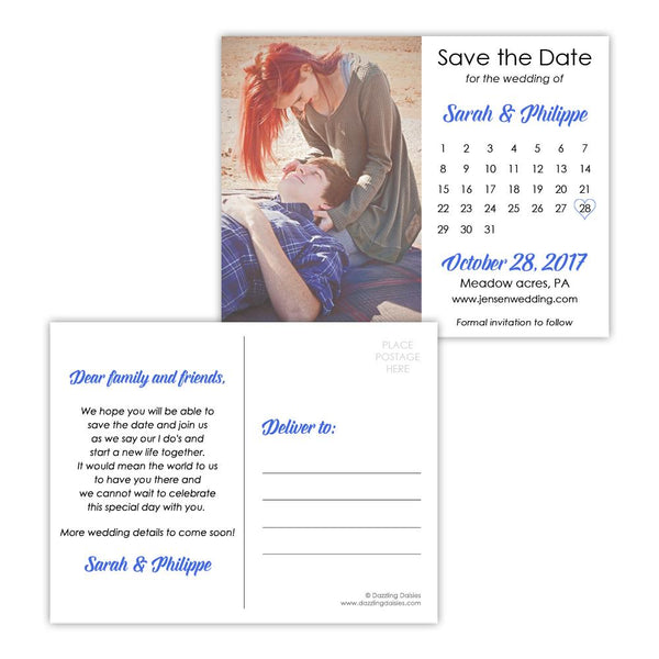 Save the date postcards 'Modern Romance' - Royal blue - Dazzling Daisies
