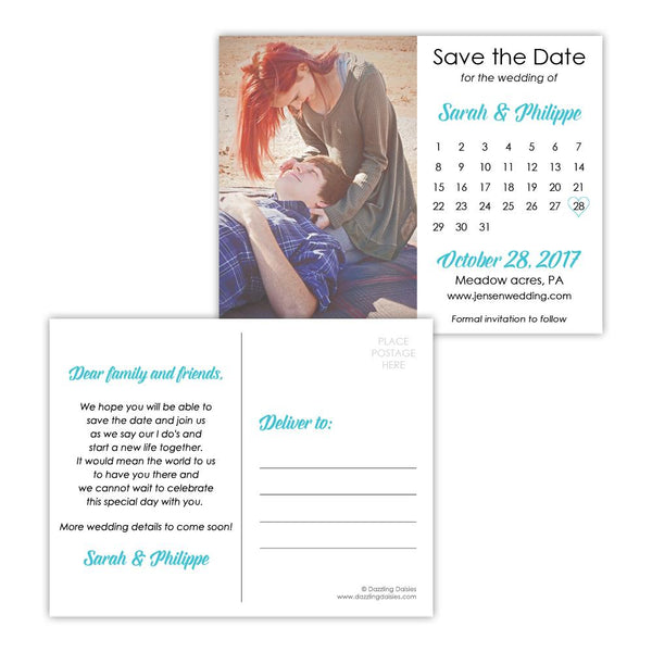 Save the date postcards 'Modern Romance' - Turquoise - Dazzling Daisies