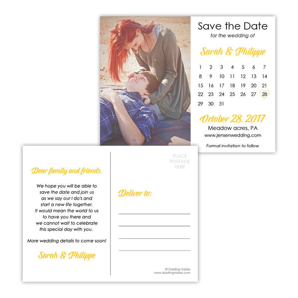 Save the date postcards 'Modern Romance' - Yellow - Dazzling Daisies