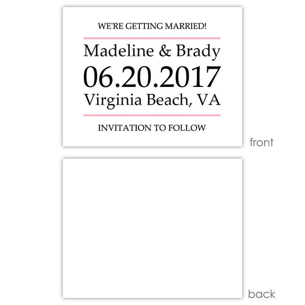 Save the date cards 'Classic Stripe' - Blank / Pink - Dazzling Daisies
