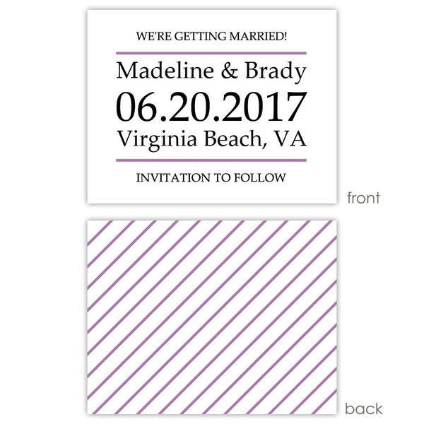 Save the date cards 'Classic Stripe' - Striped / Plum - Dazzling Daisies