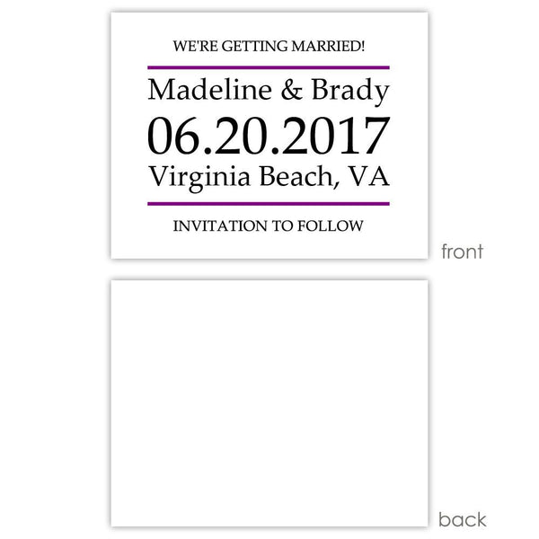 Save the date cards 'Classic Stripe' - Blank / Purple - Dazzling Daisies