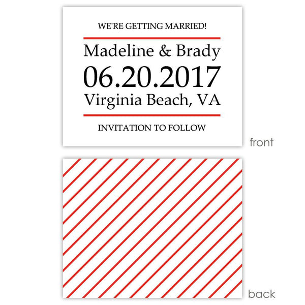 Save the date cards 'Classic Stripe' - Striped / Red - Dazzling Daisies