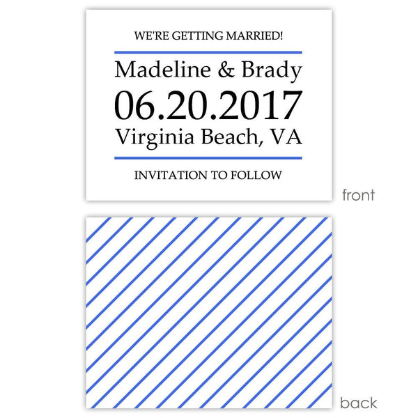 Save the date cards 'Classic Stripe' - Striped / Royal blue - Dazzling Daisies