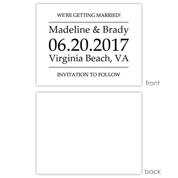 Save the date cards 'Classic Stripe' - Blank / Silver - Dazzling Daisies
