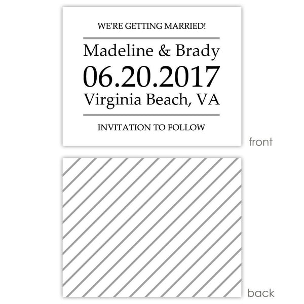 Save the date cards 'Classic Stripe' - Striped / Silver - Dazzling Daisies