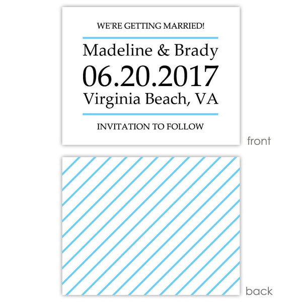 Save the date cards 'Classic Stripe' - Striped / Sky blue - Dazzling Daisies