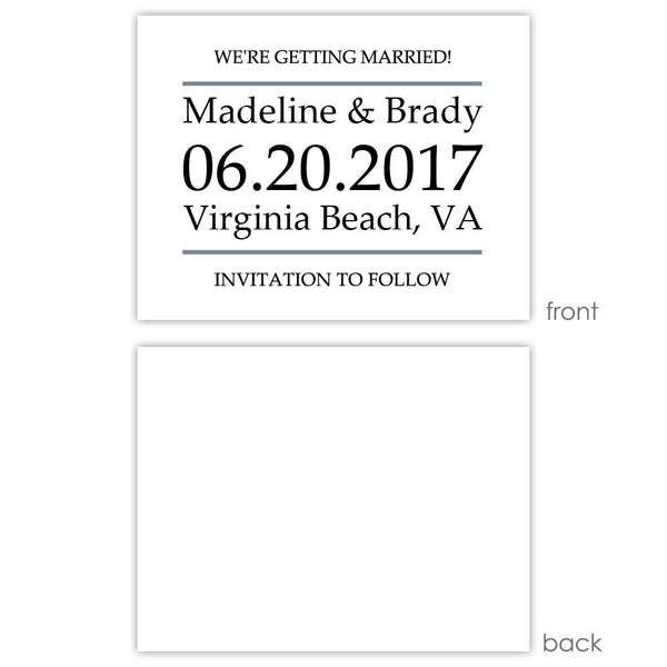 Save the date cards 'Classic Stripe' - Blank / Slate - Dazzling Daisies