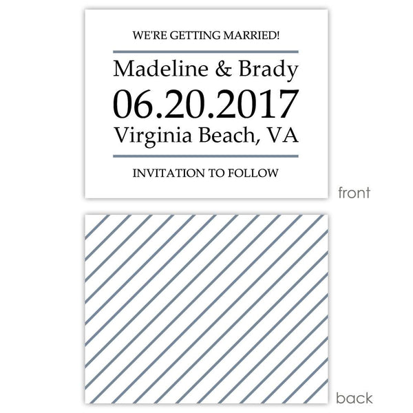 Save the date cards 'Classic Stripe' - Striped / Slate - Dazzling Daisies