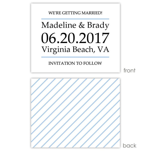 Save the date cards 'Classic Stripe' - Striped / Steel blue - Dazzling Daisies