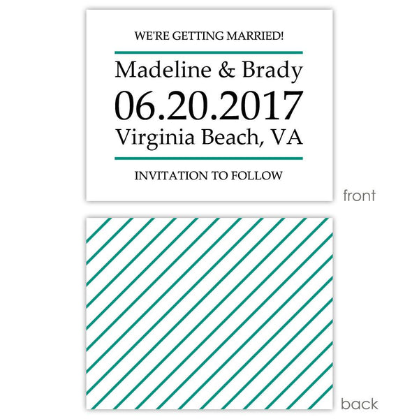 Save the date cards 'Classic Stripe' - Striped / Teal - Dazzling Daisies