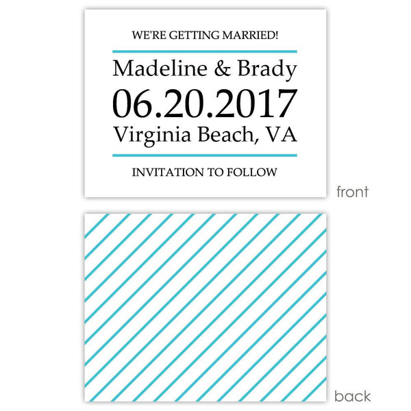 Save the date cards 'Classic Stripe' - Striped / Turquoise - Dazzling Daisies