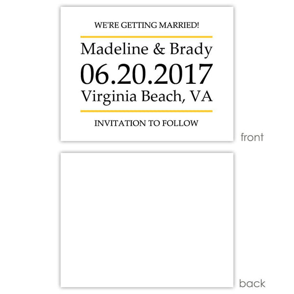 Save the date cards 'Classic Stripe' - Blank / Yellow - Dazzling Daisies