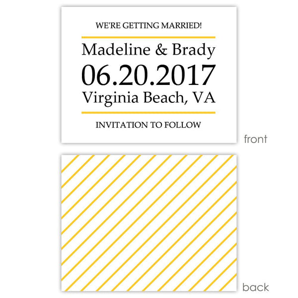 Save the date cards 'Classic Stripe' - Striped / Yellow - Dazzling Daisies
