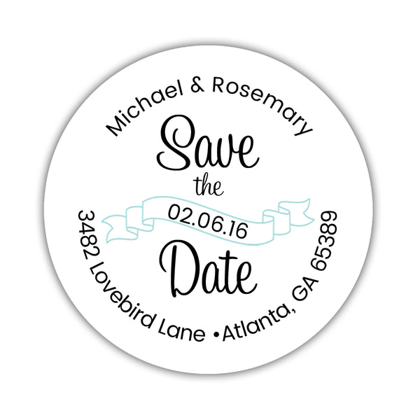 Save the date address labels 'Ribbon Swirl' - Aquamarine - Dazzling Daisies