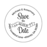 Save the date address labels 'Ribbon Swirl' - Black - Dazzling Daisies