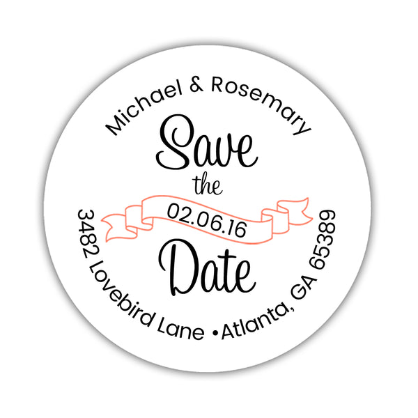 Save the date address labels 'Ribbon Swirl' - Coral - Dazzling Daisies