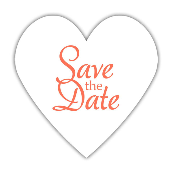 Romantic save the date stickers - Coral - Dazzling Daisies