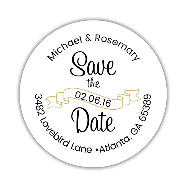 Save the date address labels 'Ribbon Swirl' - Gold - Dazzling Daisies