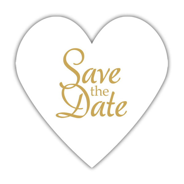 Romantic save the date stickers - Gold - Dazzling Daisies