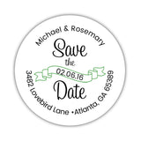 Save the date address labels 'Ribbon Swirl' - Green - Dazzling Daisies
