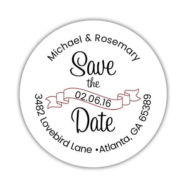 Save the date address labels 'Ribbon Swirl' - Maroon - Dazzling Daisies
