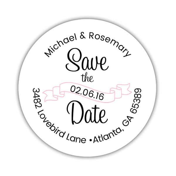 Save the date address labels 'Ribbon Swirl' - Pink - Dazzling Daisies