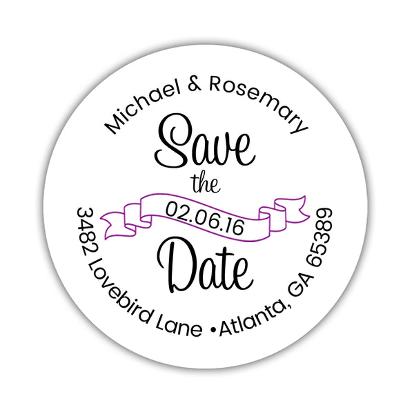 Save the date address labels 'Ribbon Swirl' - Purple - Dazzling Daisies