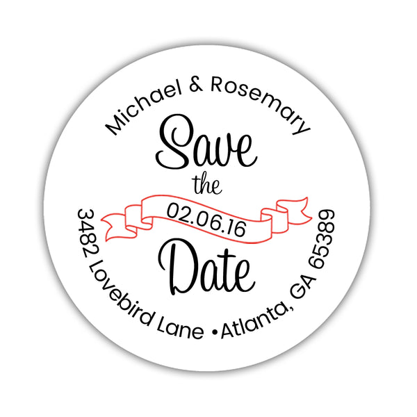 Save the date address labels 'Ribbon Swirl' - Red - Dazzling Daisies