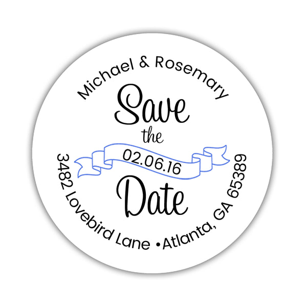 Save the date address labels 'Ribbon Swirl' - Royal blue - Dazzling Daisies
