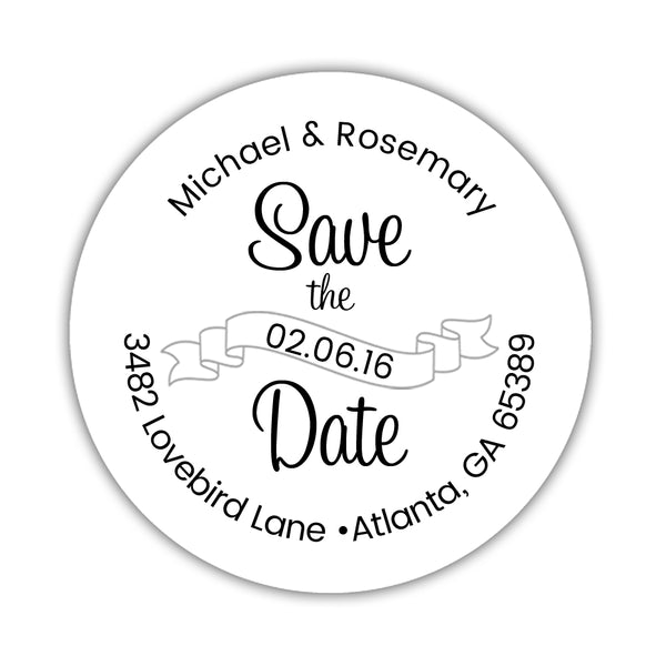 Save the date address labels 'Ribbon Swirl' - Silver - Dazzling Daisies