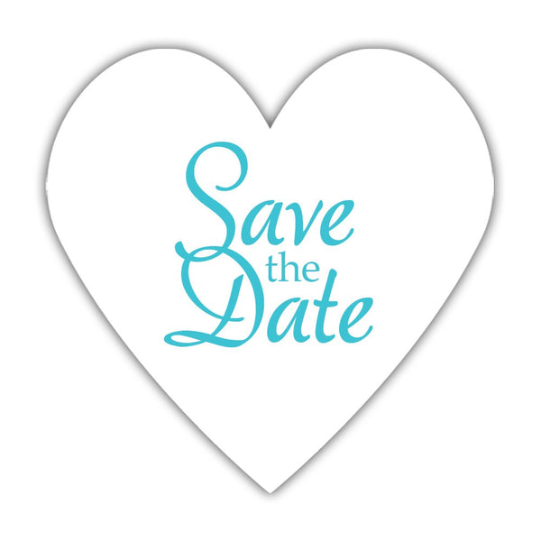 Romantic save the date stickers - Turquoise - Dazzling Daisies