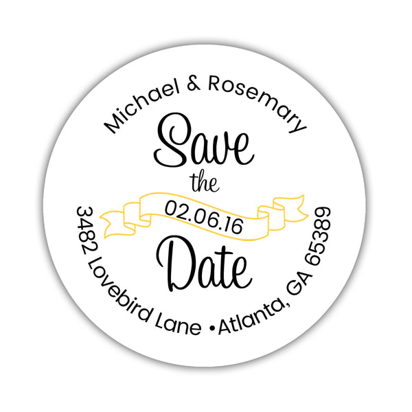 Save the date address labels 'Ribbon Swirl' - Yellow - Dazzling Daisies