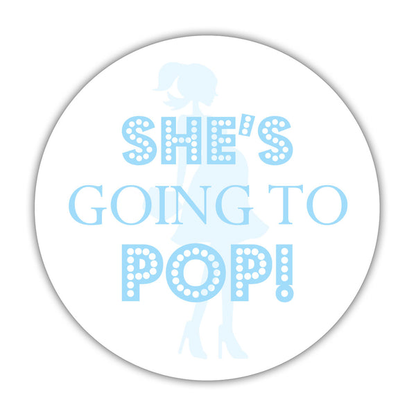 "She's ready to pop stickers - 1.5"" circle = 30 labels per sheet / Sky blue - Dazzling Daisies"