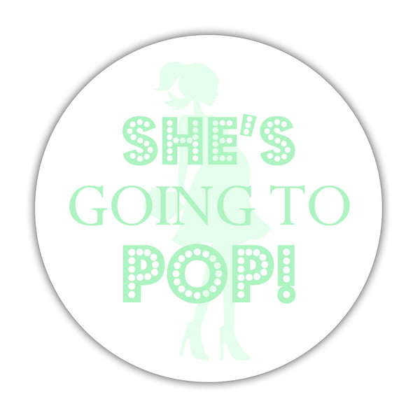 "She's ready to pop stickers - 1.5"" circle = 30 labels per sheet / Mint - Dazzling Daisies"