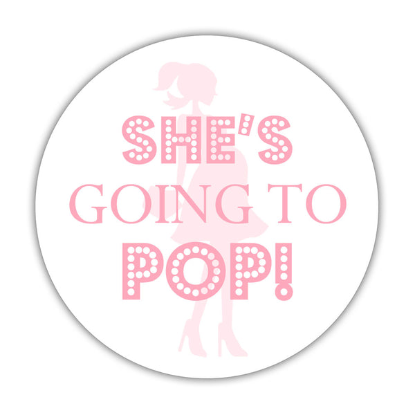 "She's ready to pop stickers - 1.5"" circle = 30 labels per sheet / Pink - Dazzling Daisies"