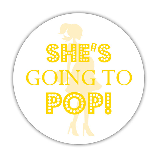 "She's ready to pop stickers - 1.5"" circle = 30 labels per sheet / Yellow - Dazzling Daisies"