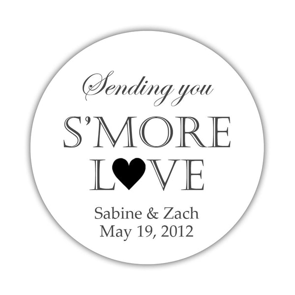 "S'more love stickers - 1.5"" circle = 30 labels per sheet / Black - Dazzling Daisies"