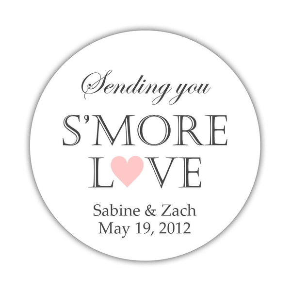 "S'more love stickers - 1.5"" circle = 30 labels per sheet / Blush - Dazzling Daisies"