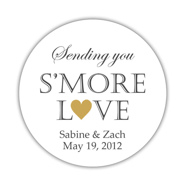 "S'more love stickers - 1.5"" circle = 30 labels per sheet / Gold - Dazzling Daisies"