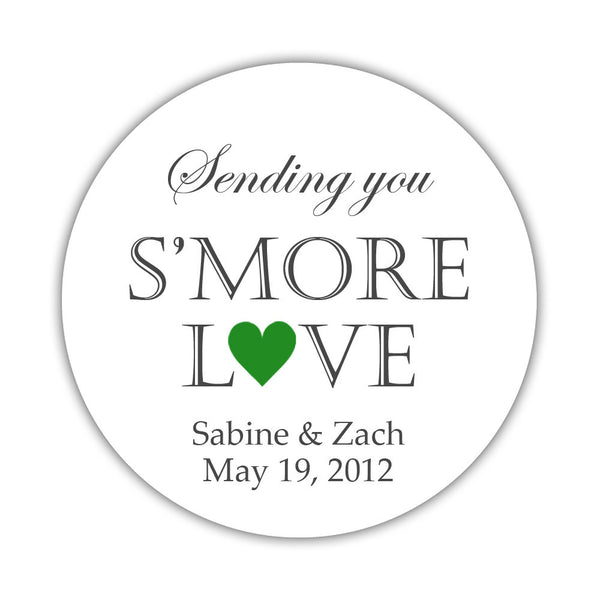 "S'more love stickers - 1.5"" circle = 30 labels per sheet / Green - Dazzling Daisies"