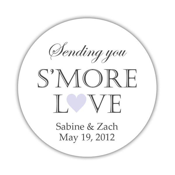 "S'more love stickers - 1.5"" circle = 30 labels per sheet / Lavender - Dazzling Daisies"