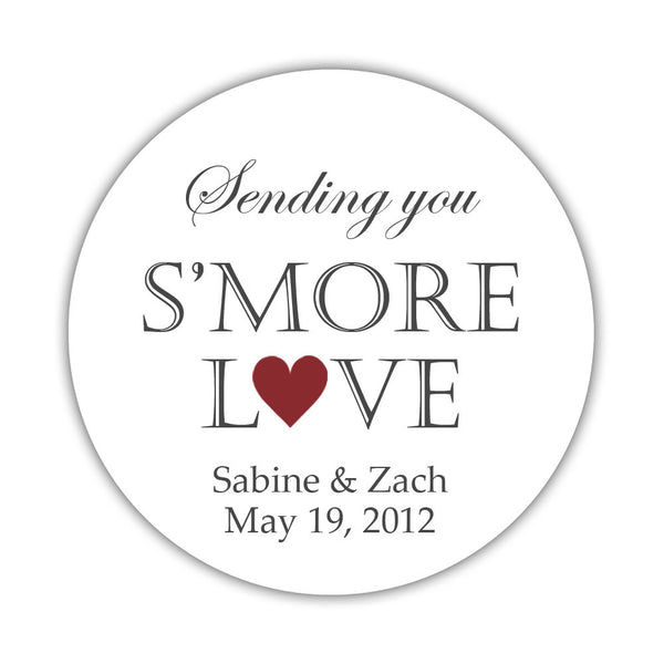 "S'more love stickers - 1.5"" circle = 30 labels per sheet / Maroon - Dazzling Daisies"