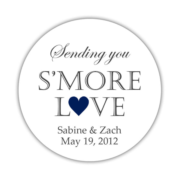 "S'more love stickers - 1.5"" circle = 30 labels per sheet / Navy - Dazzling Daisies"