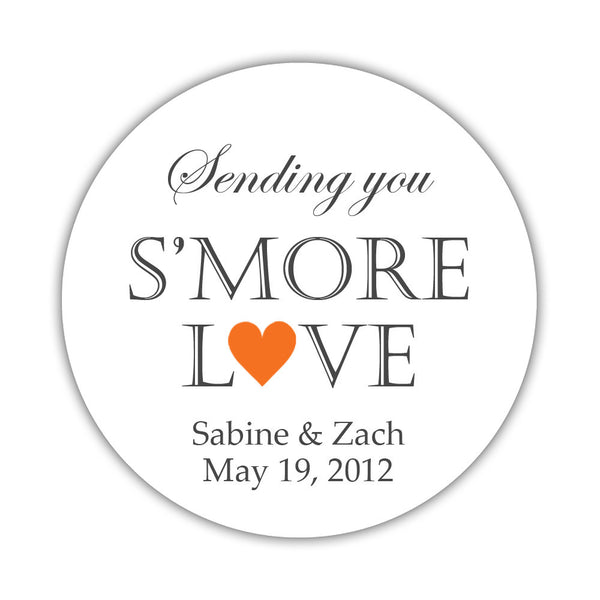 "S'more love stickers - 1.5"" circle = 30 labels per sheet / Orange - Dazzling Daisies"
