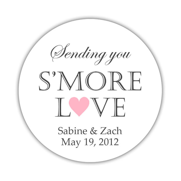 "S'more love stickers - 1.5"" circle = 30 labels per sheet / Pink - Dazzling Daisies"